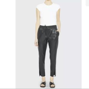THEORY Faux-Leather Slit Pull-On Pants-NWT-0